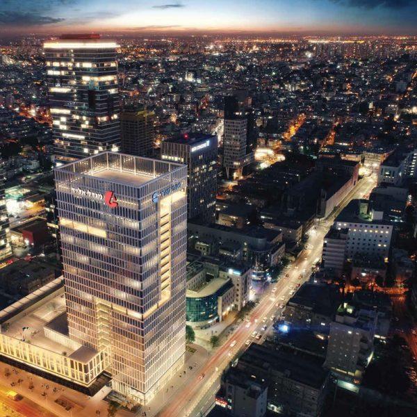 מגדל אלייד רמת גן. עבודות פנים בשטחי ציבור על פני 22 קומות. קבלן ראשי: אפקון בניה